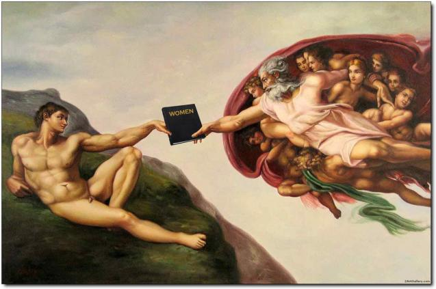 "God handing Adam a binder that is labeled ""Women"""