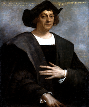 Portrait of Christopher Columbus. He is wearing a black hat and big black robes. He is sitting with one hand across his body.