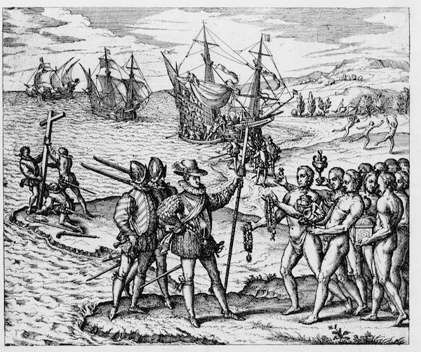Image from early modern period - black and white engraving. Columbus meeting native people in the Americas for first time. He has flag and a cross. They have garments.