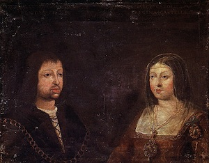 A portrait of Ferdinand and Isabella. He is on the left. They are facing each other but not looking at each other. Most of the canvas is actually not painted.