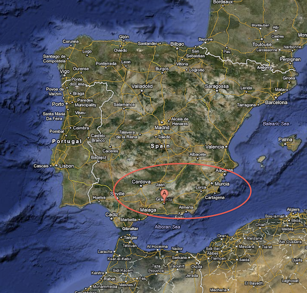 A google map of Granada, the lower eastern section of Spain.