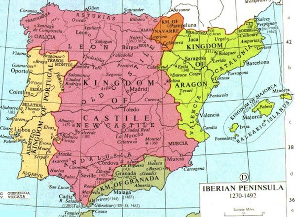 A map of the the kingdom of Castille and the kingdom of Aragon, as well as the kingdom of Granada during the 15th century.