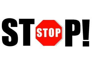 "The word stop with an exclamation point. The ""O"" in Stop is a stop sign."