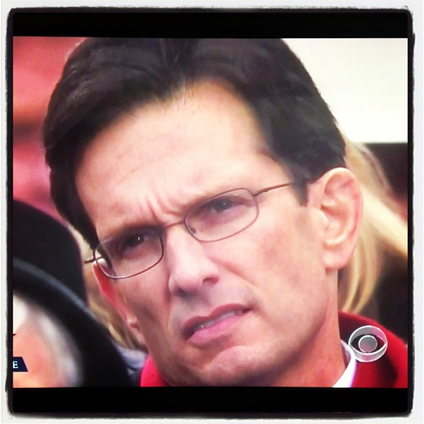 Close up of Eric Cantor's face, looking perplexed.