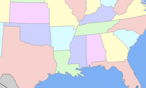 A map of the southern US