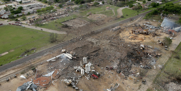Aerial view of the damage left behind by a massive explosion at the West Fertilizer Company, on April 18, 2013.